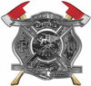 The Desire To Serve Twin Fire Axe Firefighter Maltese Cross Reflective Decal in Gray Camouflage
