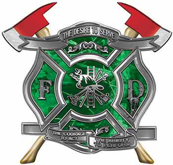 The Desire To Serve Twin Fire Axe Firefighter Maltese Cross Reflective Decal in Green Camouflage