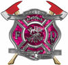 The Desire To Serve Twin Fire Axe Firefighter Maltese Cross Reflective Decal in Pink Camouflage