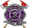 The Desire To Serve Twin Fire Axe Firefighter Maltese Cross Reflective Decal in Purple Camouflage