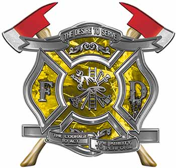 The Desire To Serve Twin Fire Axe Firefighter Maltese Cross Reflective Decal in Yellow Camouflage