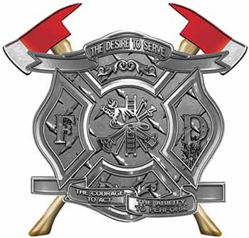 The Desire To Serve Twin Fire Axe Firefighter Maltese Cross Reflective Decal in Diamond Plate