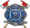 The Desire To Serve Twin Fire Axe Firefighter Maltese Cross Reflective Decal in Blue Diamond Plate