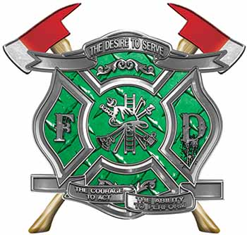 The Desire To Serve Twin Fire Axe Firefighter Maltese Cross Reflective Decal in Green Diamond Plate