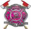 The Desire To Serve Twin Fire Axe Firefighter Maltese Cross Reflective Decal in Pink Diamond Plate