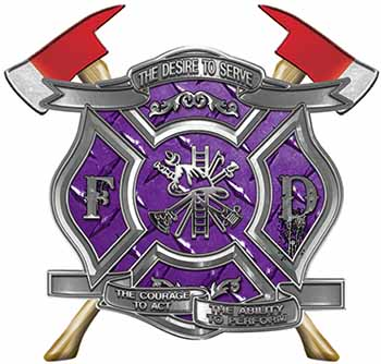 The Desire To Serve Twin Fire Axe Firefighter Maltese Cross Reflective Decal in Purple Diamond Plate