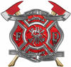 The Desire To Serve Twin Fire Axe Firefighter Maltese Cross Reflective Decal in Red Diamond Plate