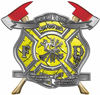 The Desire To Serve Twin Fire Axe Firefighter Maltese Cross Reflective Decal in Yellow Diamond Plate