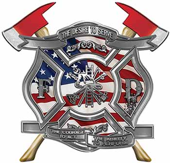 The Desire To Serve Twin Fire Axe Firefighter Maltese Cross Reflective Decal with American Flag