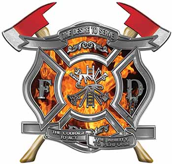 The Desire To Serve Twin Fire Axe Firefighter Maltese Cross Reflective Decal with Inferno Flames