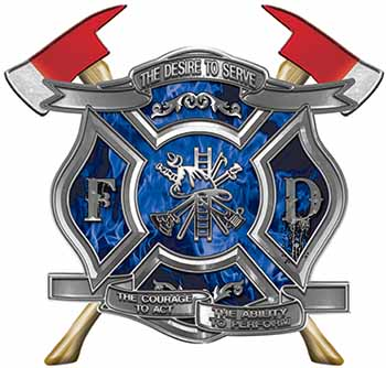 The Desire To Serve Twin Fire Axe Firefighter Maltese Cross Reflective Decal with Blue Inferno Flames