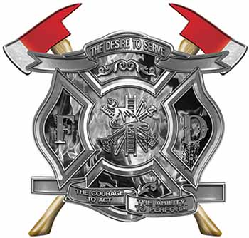 The Desire To Serve Twin Fire Axe Firefighter Maltese Cross Reflective Decal with Gray Inferno Flames