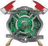 The Desire To Serve Twin Fire Axe Firefighter Maltese Cross Reflective Decal with Green Inferno Flames