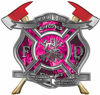 The Desire To Serve Twin Fire Axe Firefighter Maltese Cross Reflective Decal with Pink Inferno Flames