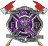 The Desire To Serve Twin Fire Axe Firefighter Maltese Cross Reflective Decal with Purple Inferno Flames