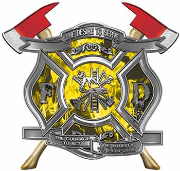 The Desire To Serve Twin Fire Axe Firefighter Maltese Cross Reflective Decal with Yellow Inferno Flames