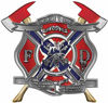 The Desire To Serve Twin Fire Axe Firefighter Maltese Cross Reflective Decal with Confederate Rebel Flag
