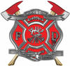 The Desire To Serve Twin Fire Axe Firefighter Maltese Cross Reflective Decal in Red