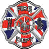 Traditional Fire Department Fire Fighter Maltese Cross Sticker / Decal with British Flag