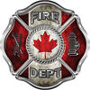 Traditional Fire Department Fire Fighter Maltese Cross Sticker / Decal with Canadian Flag