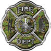 Traditional Fire Department Fire Fighter Maltese Cross Sticker / Decal in Camouflage