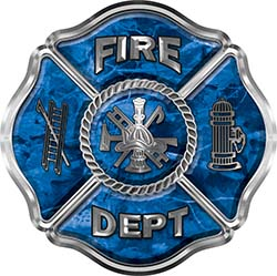 Traditional Fire Department Fire Fighter Maltese Cross Sticker / Decal in Blue Camouflage