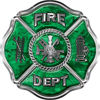 Traditional Fire Department Fire Fighter Maltese Cross Sticker / Decal in Green Camouflage