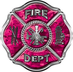 Traditional Fire Department Fire Fighter Maltese Cross Sticker / Decal in Pink Camouflage