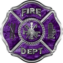 Traditional Fire Department Fire Fighter Maltese Cross Sticker / Decal in Purple Camouflage