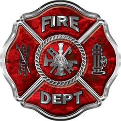 Traditional Fire Department Fire Fighter Maltese Cross Sticker / Decal in Red Camouflage
