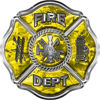 Traditional Fire Department Fire Fighter Maltese Cross Sticker / Decal in Yellow Camouflage