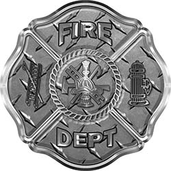 Traditional Fire Department Fire Fighter Maltese Cross Sticker / Decal in Diamond Plate