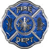 Traditional Fire Department Fire Fighter Maltese Cross Sticker / Decal in Blue Diamond Plate