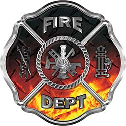 Traditional Fire Department Fire Fighter Maltese Cross Sticker / Decal in Fire Diamond Plate