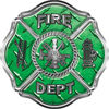 Traditional Fire Department Fire Fighter Maltese Cross Sticker / Decal in Green Diamond Plate