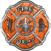Traditional Fire Department Fire Fighter Maltese Cross Sticker / Decal in Orange Diamond Plate