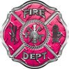 Traditional Fire Department Fire Fighter Maltese Cross Sticker / Decal in Pink Diamond Plate