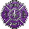 Traditional Fire Department Fire Fighter Maltese Cross Sticker / Decal in Purple Diamond Plate