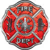 Traditional Fire Department Fire Fighter Maltese Cross Sticker / Decal in Red Diamond Plate
