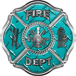 Traditional Fire Department Fire Fighter Maltese Cross Sticker / Decal in Teal Diamond Plate