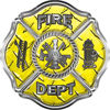 Traditional Fire Department Fire Fighter Maltese Cross Sticker / Decal in Yellow Diamond Plate