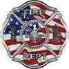 Traditional Fire Department Fire Fighter Maltese Cross Sticker / Decal with American Flag