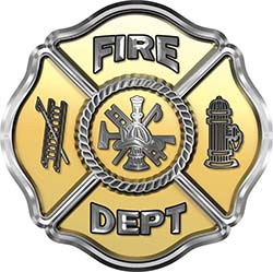 Traditional Fire Department Fire Fighter Maltese Cross Sticker / Decal in Gold