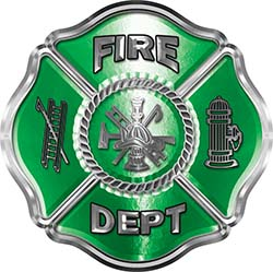 Traditional Fire Department Fire Fighter Maltese Cross Sticker / Decal in Green