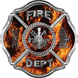Traditional Fire Department Fire Fighter Maltese Cross Sticker / Decal in Inferno Flames
