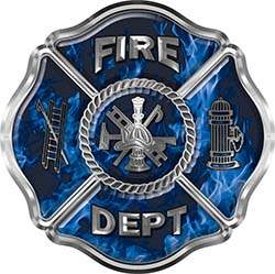 Traditional Fire Department Fire Fighter Maltese Cross Sticker / Decal in Blue Inferno Flames