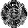 Traditional Fire Department Fire Fighter Maltese Cross Sticker / Decal in Gray Inferno Flames