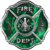 Traditional Fire Department Fire Fighter Maltese Cross Sticker / Decal in Green Inferno Flames