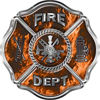 Traditional Fire Department Fire Fighter Maltese Cross Sticker / Decal in Orange Inferno Flames