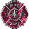 Traditional Fire Department Fire Fighter Maltese Cross Sticker / Decal in Pink Inferno Flames